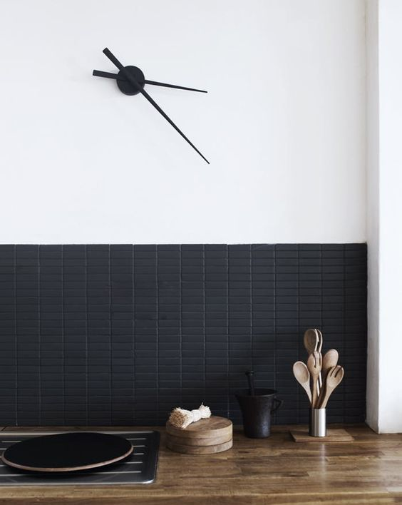 small matte black rectangular tile backsplash for an ultra-modern kitchen