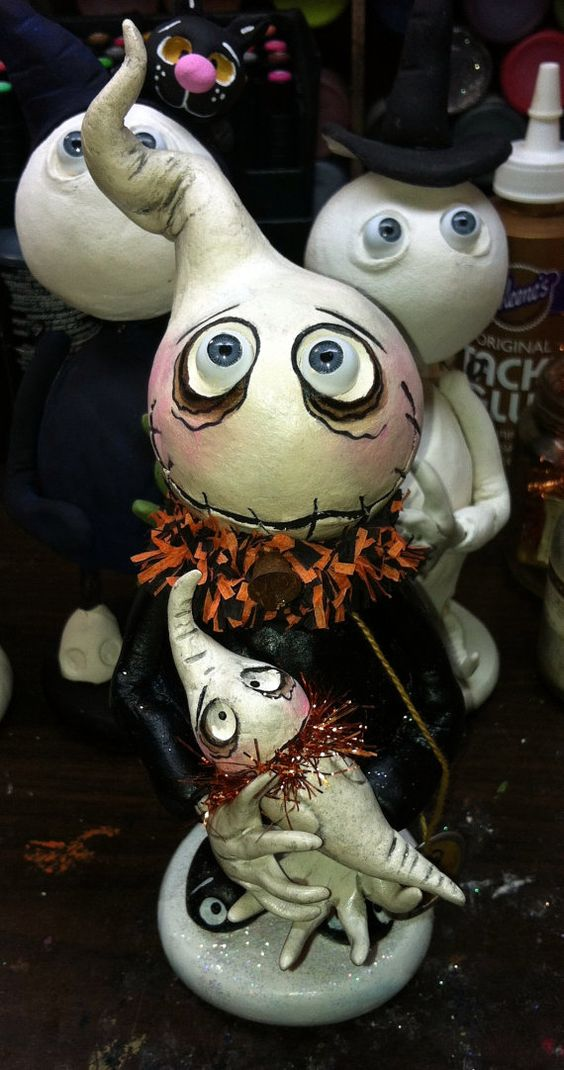 grimmy ghost dolls make up a gorgeous Halloween decoration for any home
