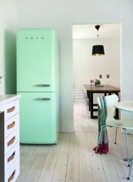 a mint green Smeg fridge for a peaceful kitchen without colorful accents