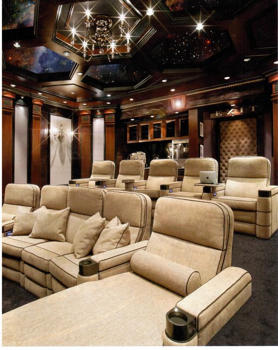 a modern and cozy home cinema for fild enthusiasts