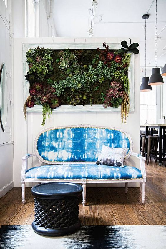 a vintage sofa with a refined feel and shibori upholstery