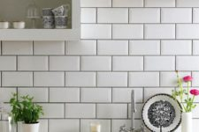 08 subway tiles with dark grout for definition and open cabinets are a fresh take on a traditional white kitchen