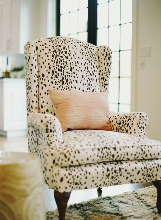 a cozy dalmatian print upholstered chair is a great idea for sprucing up the interior