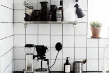 09 matte white square tiles with black grout for a mid-century modern Scandinavian kitchen