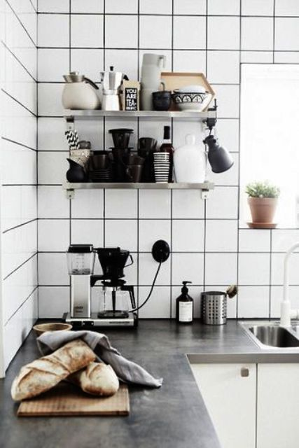 matte white square tiles with black grout for a mid-century modern Scandinavian kitchen