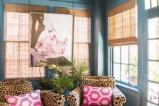 10 cheetah print chairs make this pastel space more interesting