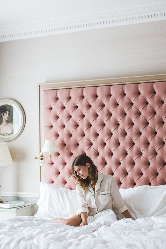 a bed with pink diamond upholstery will add a sweet girlish feel to your bedroom