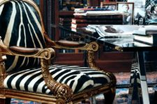 11 a refined vintage armchair with zebra print upholstery