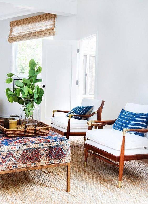 a couple of shibori pillows to make this boho chic space more eye-catchy