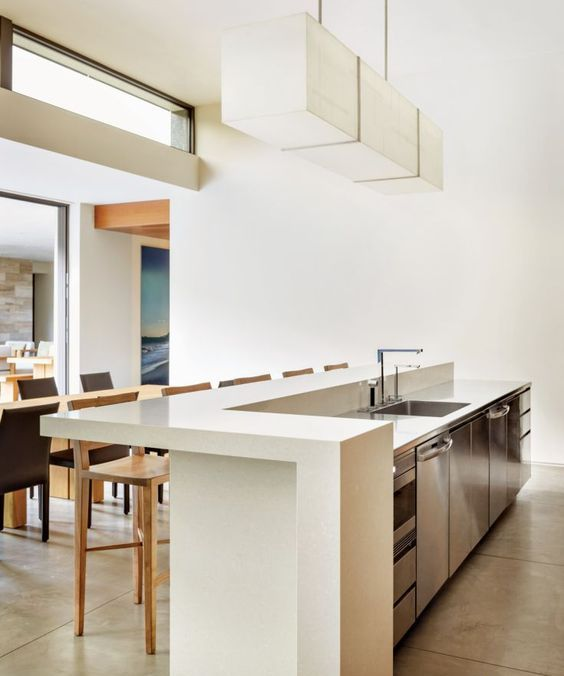 a modern space with a minimalist feel is completed with a sleek white countertop