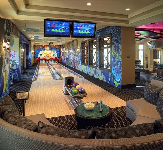 bold and colorful bowling room will require some space but you'll enjoy playing