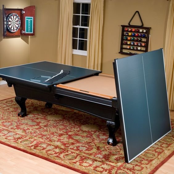 a pool table can be easily turned into a tennis table, it will save much space