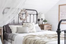 14 comfy bedding of natural fabrics and a knit blanket in case it's cold