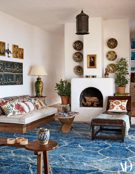 wooden furniture with creamy upholstery is traditional for Mediterranean style