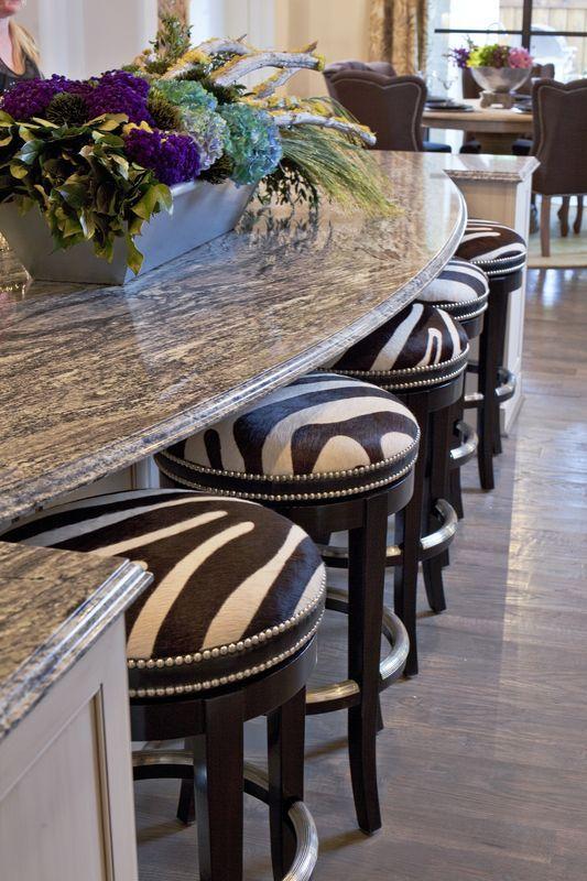 zebra print stools for an interesting breakfast zone