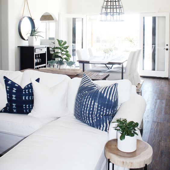 a neutral room can be spruced up with beautiful shiobri pillows and you can easily make them