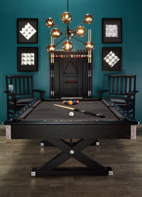 a stylish teal and black game room with a trestle pool table looks wow