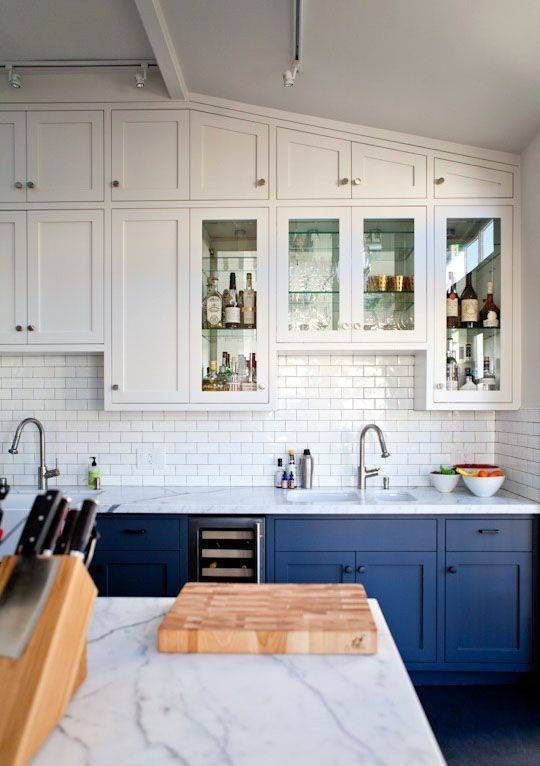 Interior White And Blue Kitchen Cabinets 30 gorgeous blue kitchen decor ideas digsdigs suspended white cabinets and cobalt ones on the floor create a light airy look