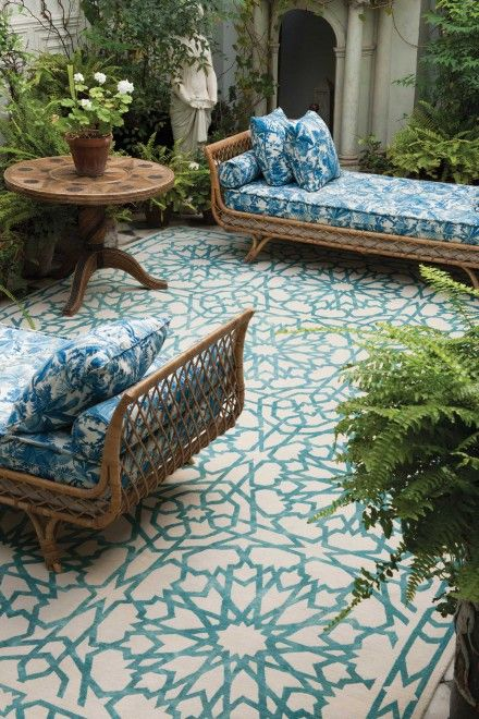 wiker daybeds with blue print uoholstery is right what you need for an outdoor space