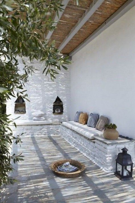 if it's an outdoor space, you can make benches of whitewashed bricks or concrete