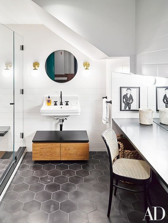 matte black hexagon tiles for a gorgeous monochrome bathroom