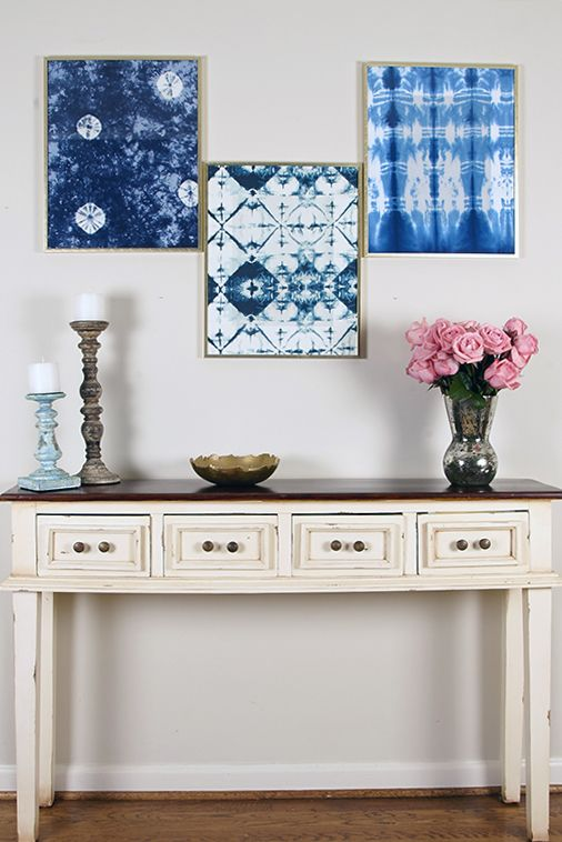 framed shibori artworks can be DIYed by you and will add a modern feel to your interior