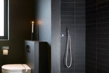 19 matte black shower tiles and matte grey and black surfaces for a moody masculine bathroom