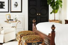 19 refined cheetah print stools for accentuating a luxurious bedroom and adding color to it