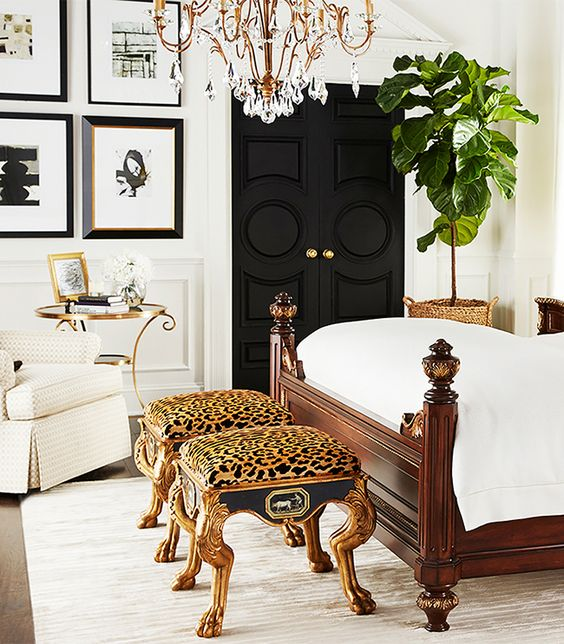 refined cheetah print stools for accentuating a luxurious bedroom and adding color to it