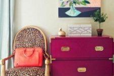 20 a cheetah print chair and a fuchsia Ikea Rast chest for a glam girlish space