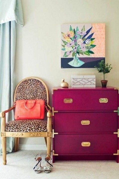 a cheetah print chair and a fuchsia Ikea Rast chest for a glam girlish space