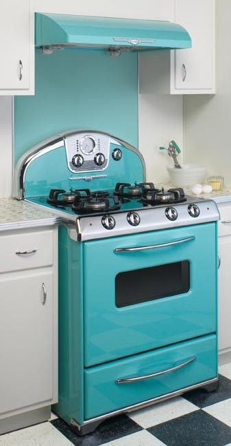 a retro tiffany blue stove looks stylish and chic, it will easily spruce up any kitchen
