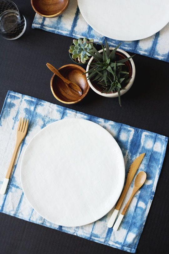 make your party decor trendier and surprise all your guests with shibori placemats