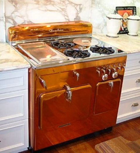 a retro copper cooker looks chic and shiny, it will definitely add charm to your space