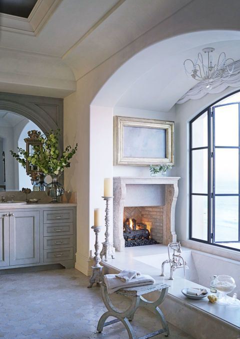 a vintage fireplace in the bathroom will give it a relaxing feel and will turn it into a spa