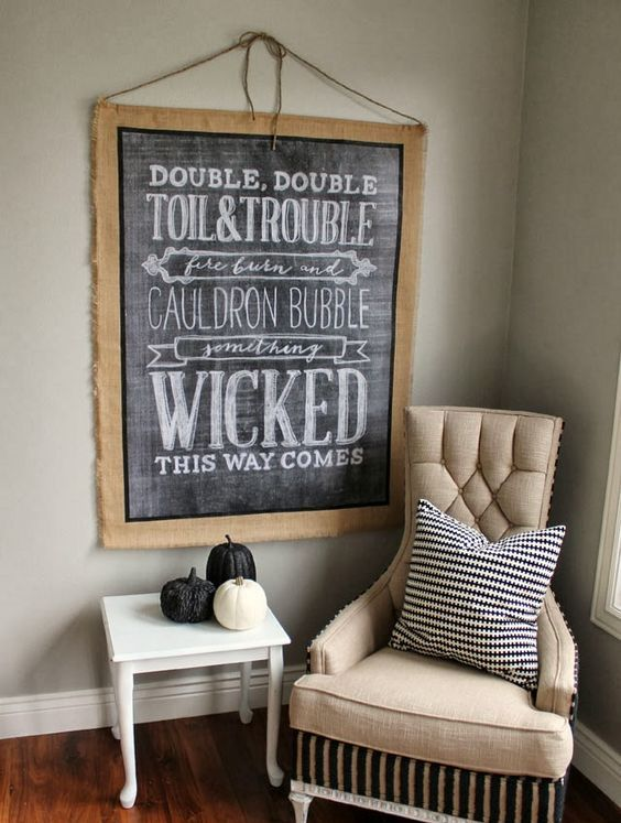 a chalkboard sign in burlap can be DIYed easily and without wasting much time or money