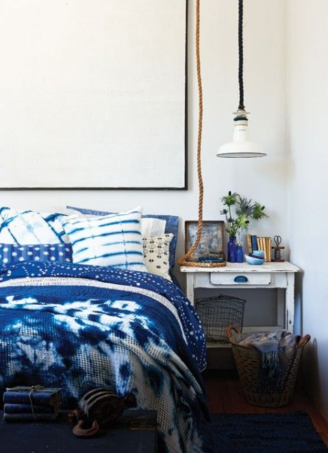 shibori bedding for a seaside bedroom