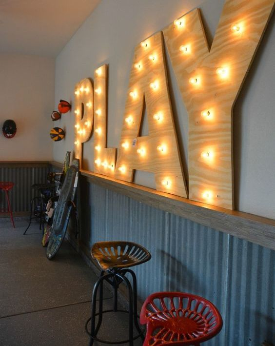 make a large marquee sign yourself to add character to the the room