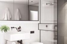 24 matte white hex tiles and black framing for a textural and eye-catchy look