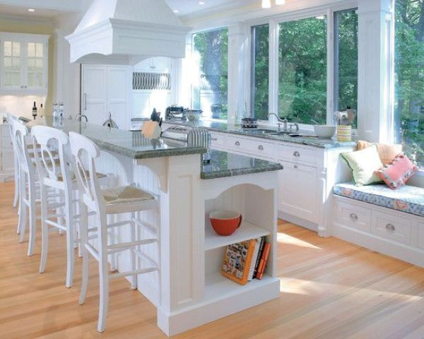 a two-level kitchen island with two level for cooking and eating perfectly fits a traditional kitchen
