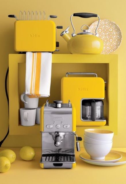 A Set Of Sunny Yellow Kitchen Appliances With A Stainless Steel Touch For A  Sunny Mood