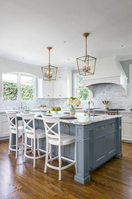 A Vintage Kitchen Is Given A Coastal Touch With A Pale Blue Kitchen Island Part 90