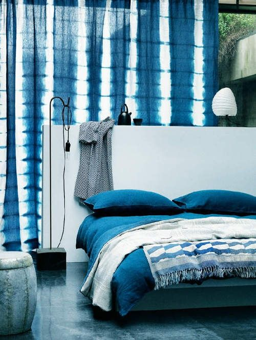 shibori curtains and bedding for those who love blue shades in the bedroom