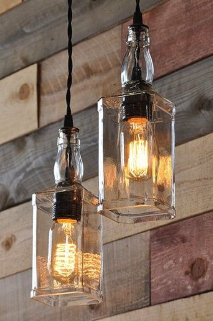 whiskey bottle lights will be a cool touch for any man cave