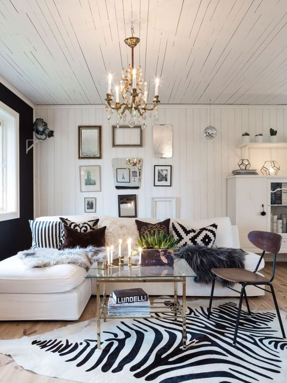 a zebra print rug for a chic glam living room