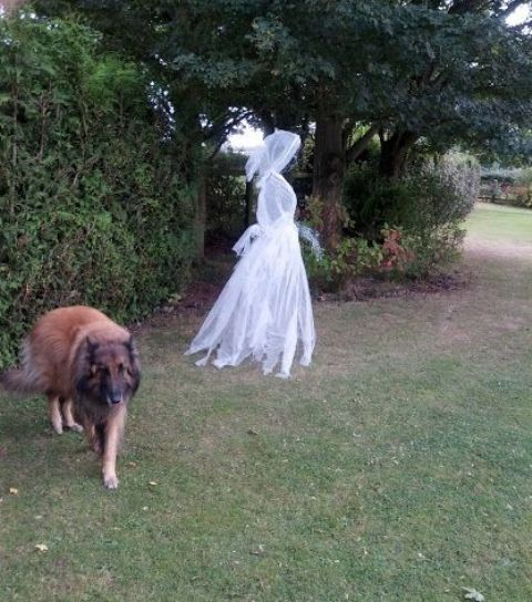 such a cheesecloth and wire ghost is great for scaring people outdoors