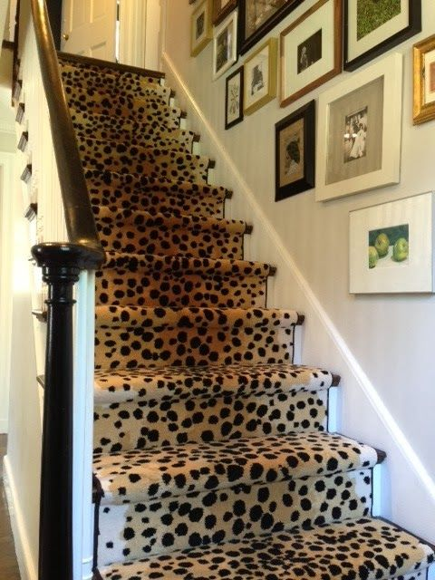 cheetah print stair runner for a cozy and chic feel