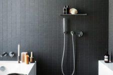 29 tiny matte black rectangular tiles for a masculine bathroom