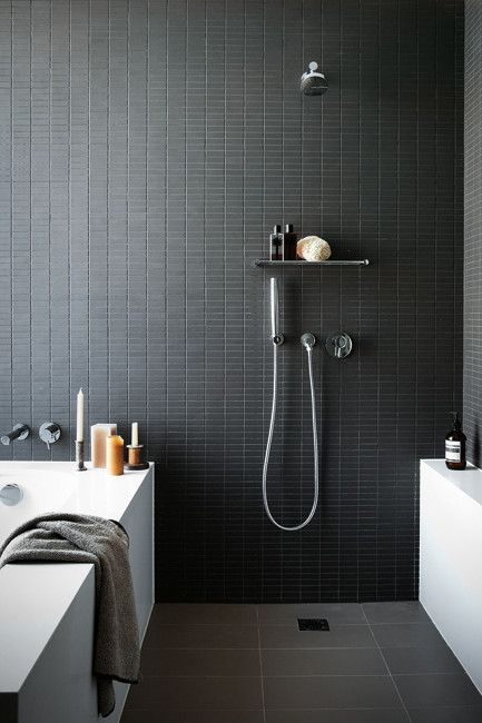 tiny matte black rectangular tiles for a masculine bathroom
