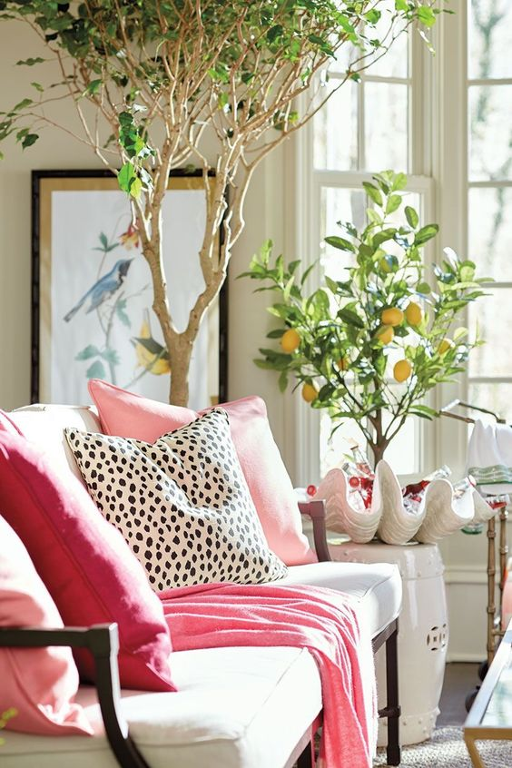 dalmatian print pillow to make a girlish living room more eye-catching
